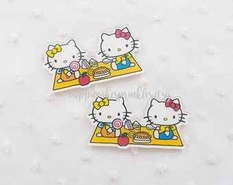 1pc - Kitschy Kitty and Friend Picnic Acrylic Decoden Cabochon (57x30mm) HKY013