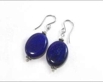 Lapis Lazuli Earrings - Flat Oval and Sterling Silver Bali-Style spacer beads