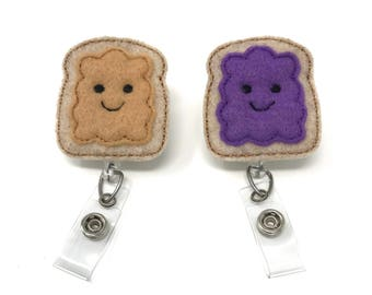 Peanut Butter and Jelly Badge Reel Set, Bff Best Friends, PB&J, RN Nurse Name Badge ID Holder, Alligator Clip or Belt Clip Retractable