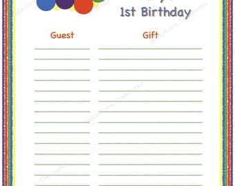 Colorful Caterpillar 1st Birthday Guest & Gift List - Digital Download