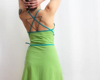 Light green cotton jersey spaghetti strap summer dress / Hell grün baumwolle Trägerkleid
