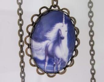 Unicorn Necklace, Fantasy Jewelry, Pendant Necklace, Oval Cameo, Purple and White, Unicorn Pendant Necklace, Antiqued Brass, White Stallion