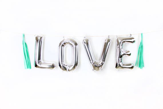 "16"" Silver LOVE Balloon, Letter Balloon, Silver Balloon Banner, Bridal Shower, Photo Booth Prop, Wedding Photo Prop, Boy Silver Baby Shower"