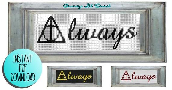 Pattern Harry Potter Always Cross Stitch Sewing Funny Hogwarts