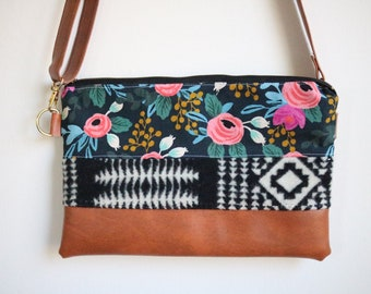 Ready to ship blue flowers & pendleton cross-body (Rifle Paper Co.)