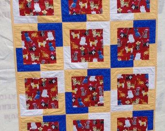 Handmade Quilt Blanket Various Cats wearing Hats Red Gray Yellow Blue White Cotton Backed in Red Fleece with Dogs