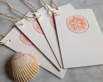 Letterpress Gift Tags - sand dollar - Set of 8
