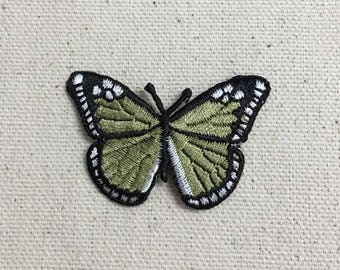 Small - Butterfly - Olive Green/Black - Iron on Applique - Embroidered Patch - 633342-D