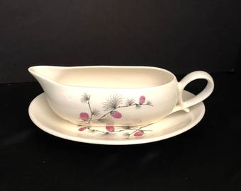 Canonsburg Wild Clover Gravy Boat and Plate by CANONSBURG Steubenville SKYLINE/WILD Clover Steubenville - Wild Clover Pattern /Pink Pinecone