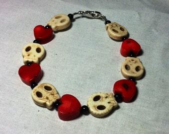 Flat White Stone Skulls and Hearts Bracelet