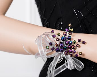 Limited Edition Iridescent Purple Corsage - Purple Wrist Corsage