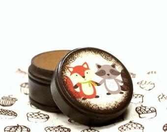 Fox And Raccoon Powder Box, Wooden Box, trinket box, Wood Container, Treasure Box, Wooden Keepsake, Kids Box, Storage, Animals, Nature