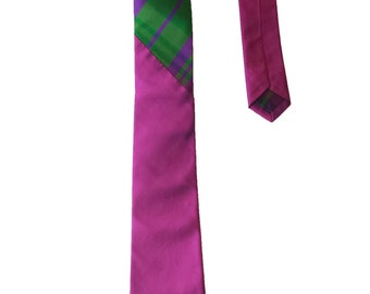 Magenta Raw Silk Tie, Plaid Tie, Neck Tie for Men, Mens Neck Wear, Mens Tie, Novelty Tie, Suit & Tie Accessory, Mens Gifts, Mens Accessory
