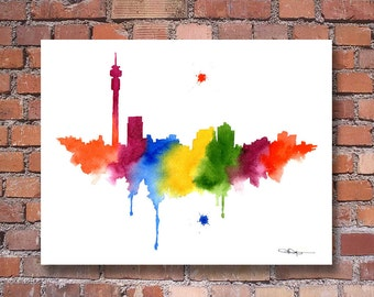 Johannesburg Skyline - Abstract Watercolor - South Africa Art Print - Wall Decor