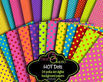 Digital Polka Dot Paper Printable Polka Dots Polka Dot Paper Polka Dot Backgrounds Digital Paper -  Instant Download