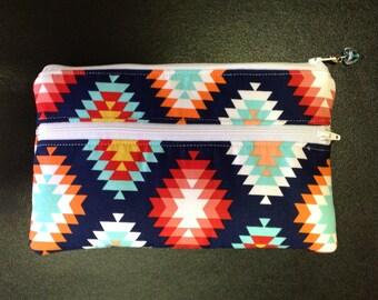 Zipper pouch, Double zipper pouch, cosmetic bag, clutch
