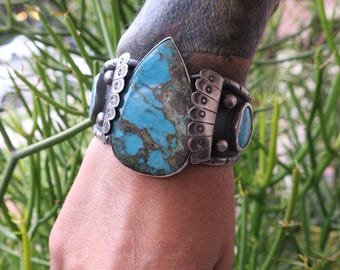 Morenci Cuff. Repurposed vintage sterling silver watch cuff with Morenci Turquoise. Unisex cuff bracelet. Collector piece.