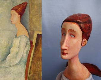 Modigliani art doll - OOAK figurine Modigliani style - Jeanne Hebuterne clay doll - Collectible art doll