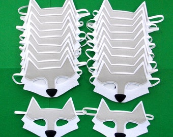 Wolf Masks - Party Pack - 20 Masks - Kid's Mask - Wolf - Mask - Dress Up - Play - Costume - Party Favor - Dress Up - Halloween - Gray