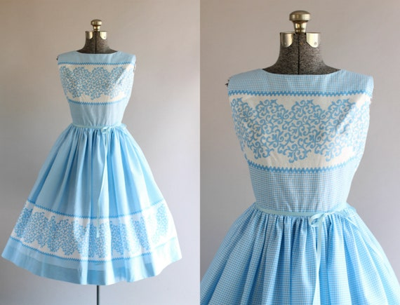 Jahrgang 1950 Kleid / 50er Jahre Baumwolle Kleid / John Wolf