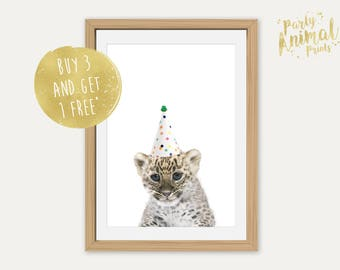 Animal Nursery Print - Party Animal, Safari, Jungle, Cute Animal, Christening, Baby Shower, Nursery Art, Nursery Decor, Leopard Cub
