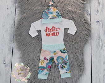 Hello World Coming Home Outfit Newborn Girl Coming Home Outfit Baby Girl Take Home Outfit Hello World Outfit Newborn Baby Girl Baby Leggings