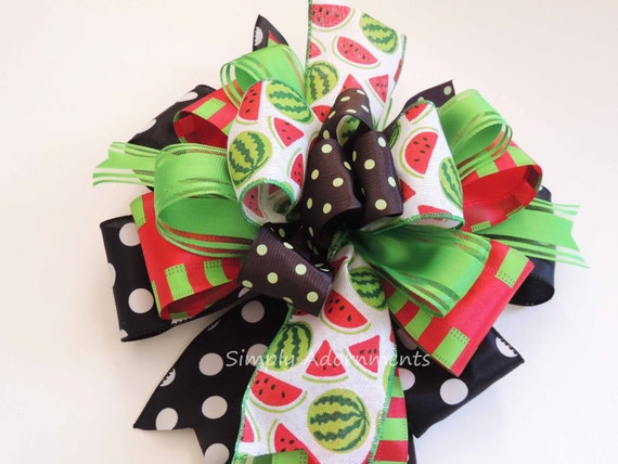 Watermelon Summer Wreath Bow Summer Door hanger Bow Red Watermelon Summer party decor Watermelon Birthday Party Decor Red Green Gift Bow