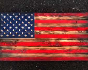 Wooden American Flag-  WW2 Faded Glory, Hand made, Aged Wood, Rustic Independence, Freedom, Vintage, Bold, Custom, Unique