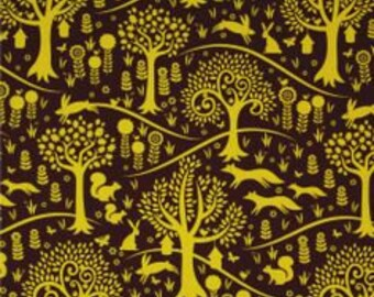Michael Miller Fabrics Fox Trot in Citron 1/2 Yard From the Norwegian Woods Too Collection