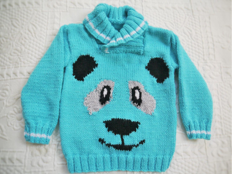 Panda Sweater Knitting Pattern, Sweater Knitting Pattern for Boy or ...