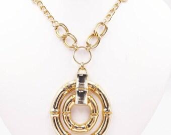 Gold Tone Bamboo Door Knocker Necklace, 1980's Gold Necklaces, Adjustable Length Door Knocker Necklace