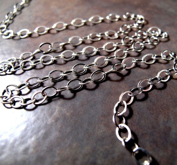 Sterling Silver Chain, 5mm x 4mm Flattened Cable Chain, By The Foot, Great Chain for Charm Necklace or Bracelet, Extender Chain (57s)