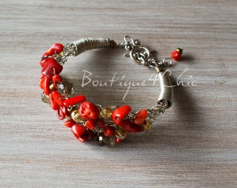 Coral bracelet, red coral bracelet, gift for her, romantic
