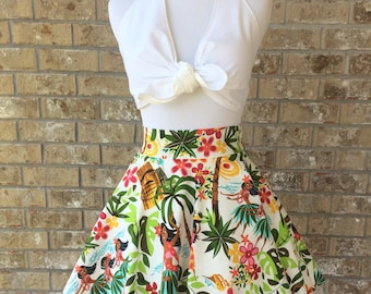 Handmade Custom Made to Order Circle Skirt Tiki Hawaiian Kitsch Mid-Century Modern 1950s Retro High Waist Skater Swing Rockabilly PinUp XS-L