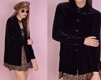 90s Oversized Black Velvet Button Down Shirt/ Small/ 1990s/ Long Sleeve