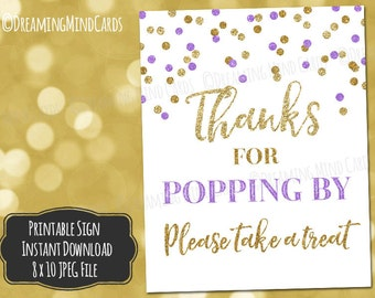 Printable Thanks for Popping By Popcorn Bar Sign 8x10 Purple Gold Glitter Confetti Baby Shower Digital Download