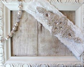 Wedding garter - Customizable vintage wedding garter with sparkling crystal rhinestones on comfortable lace, Bridal Garter, Single Garter