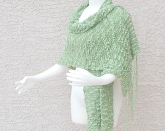 Hand Knit Handmade Cotton Summer Shawl Wrap Airy Art Yarn Sprout Green