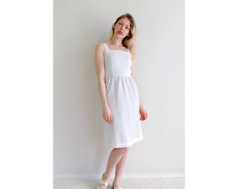 Vintage white button dress | side button woven sundress engagement dress belt off-white woven sleeveless dress | size xx-small to x-small