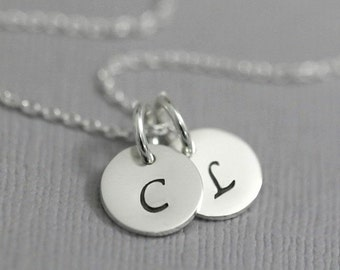 Double Initial Necklace, Sterling Silver Initial Necklace, Gift for Her, Gift for Mom, Christmas Gift Necklace, Letter Necklace