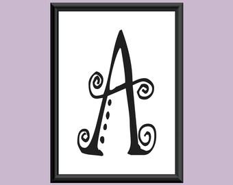 Typography DIGITAL PRINT Monogram Initial Wall Art SpaGirl Letter A 5x7