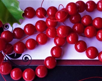 """Red Coral Smooth 8 mm Round Beads,Full Strand,15-16"""" long, Grade AA,semi-precious stone,DIY jewelry beads, jewelry supply"""