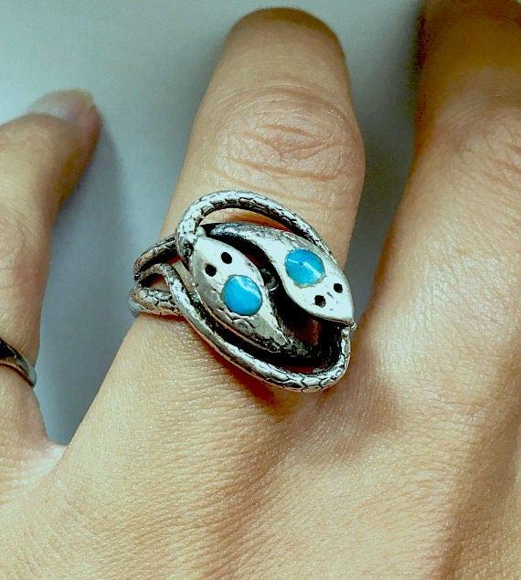 Snake ring - turquoise ring - silver ring - animal ring - boho ring - turquoise jeweleries - snake jeweleries