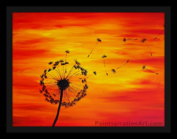 Dandelion Print Sunset Painting Red Orange Yellow Dandelion | title | sunset painting