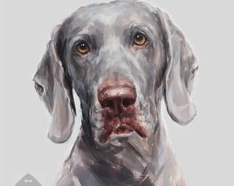 Weimaraner original painting - oil on canvas - weimaraner lover gift - dog painting