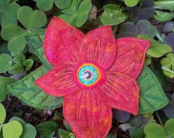 Felted Eyeball Flower Barrette
