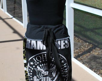 Ramones Tie Waist Bohemian Hippie Style Skirt with yoga waist Upcycled T-Shirts size S/M, ready to ship