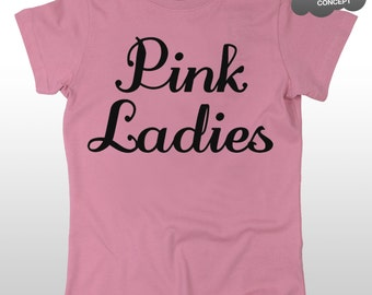 Pink Ladies T-Shirt Grease Movie Hen Night Party T Birds Fancy Dress Costume Tee
