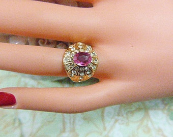 Vintage Gold and Pink Rhinestone Solitaire Ring - Size 5.5 - R-181 - Gold Ring - Pink Solitaire Ring - Cluster Ring