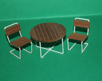 Vintage Dolls House Lundby Garden Patio Table & Chairs